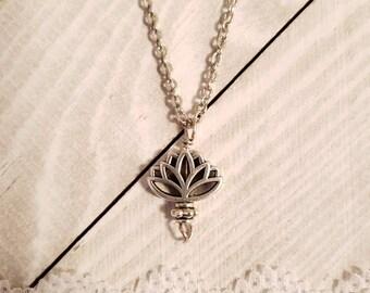 Lotus Flower Charm pendant necklace