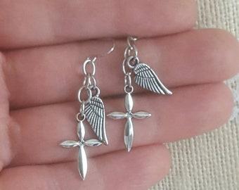 Cross dangle earrings with angel wings