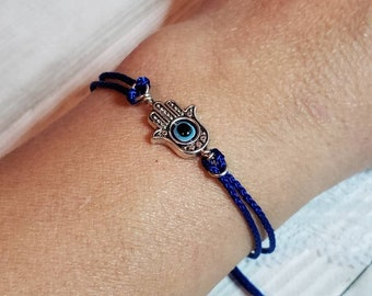 Hand of Hamas protection, luck, happiness and health. Protection, evil eye jewelry, Adjustable bracelet palm shaped hand symbol jewelry