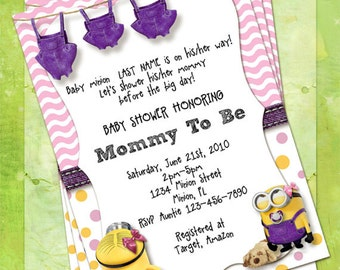 Minion baby shower etsy minion baby shower invitations pink and purple customize instant download filmwisefo