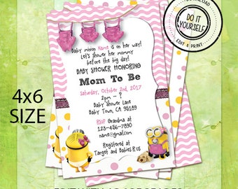 Minion baby shower invitation etsy minion baby shower invitations customize yourself instant download in 4x6 size filmwisefo