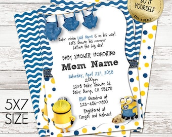 Minion baby shower etsy minion baby shower invitations customize yourself instant download in 5x7 size filmwisefo