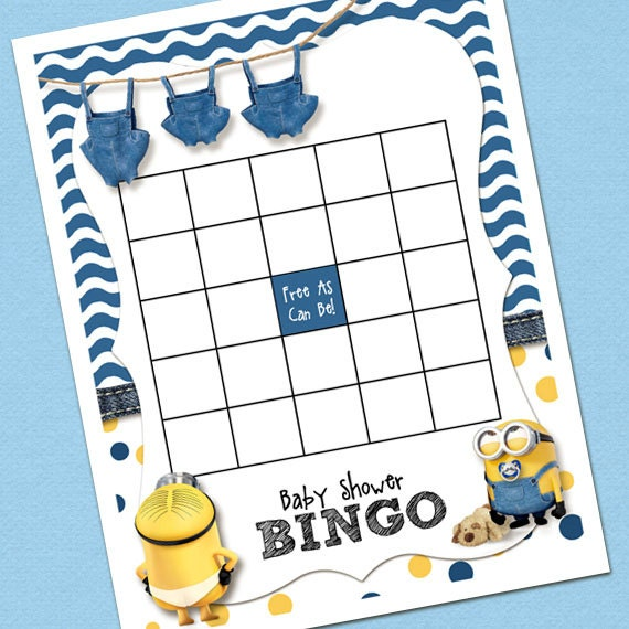 Minion Baby Shower Bingo Template Etsy