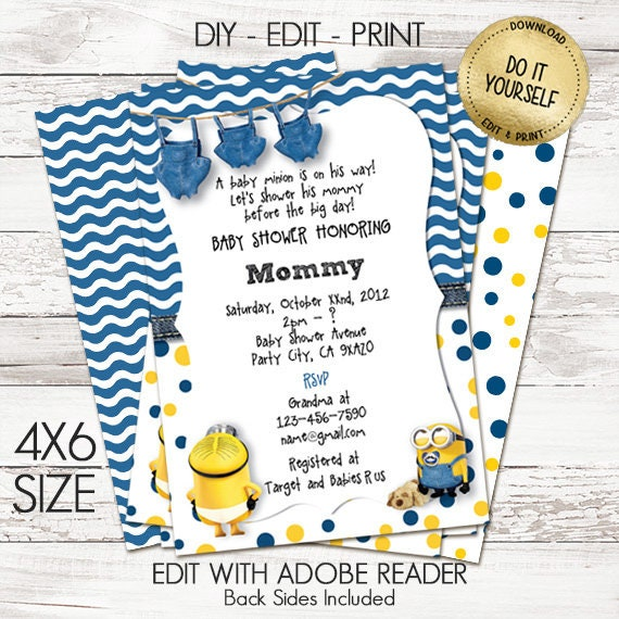 Minion Baby Shower Invitations Customize Yourself Instant Etsy