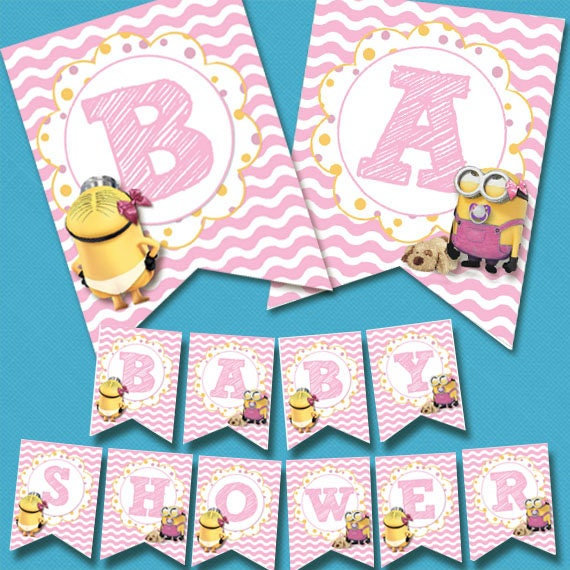 Digital Printable Pink Minion Baby Girl Shower Banner