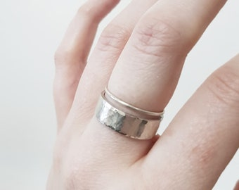 Handmade Set of Two Sterling Silver and Hammered Textured Stacking Rings