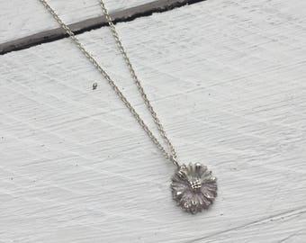 Handmade Fine Silver Daisy Flower Necklace
