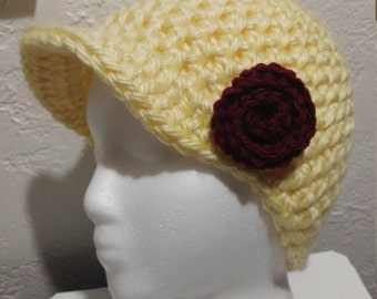 Yellow Newsboy Cap with Flower