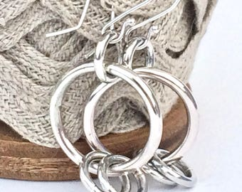 Sterling Silver Small Hoop Earrings Handmade