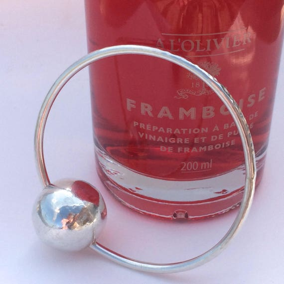 Handmade Hammered Bracelet Silver Handmade Bangle with Silver Floating Bead