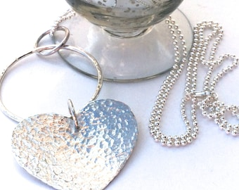 Long Sterling Silver Heart Necklace on 80cm Ball Chain