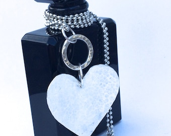 Long Sterling Silver Heart Necklace,  80cm Ball Chain