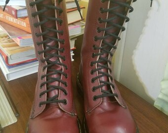 Dr Martens - Oxblood Steel Toe Boot 14 Eyelet Vintage Made in England Marked Size 3UK = 5US Women's