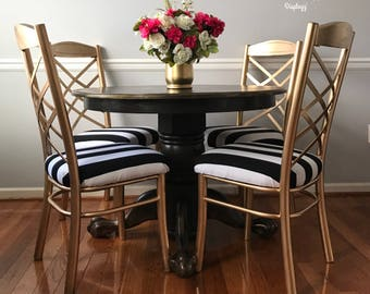 Hollywood Style Black And White Vintage Round Claw Foot Table And Chair Set