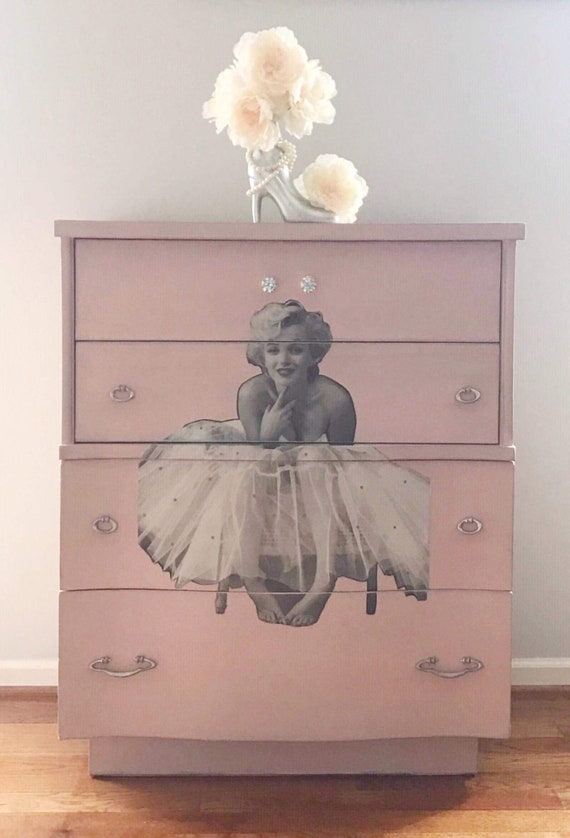 Avail for custom order. Vintage Pink Marilyn Monroe dresser, girl\'s bedroom  decor, swarovski crystal tulle dress, diva princess room,