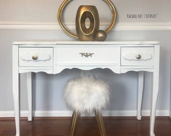 SOLD! Girl's Funky, White French Provincial Vanity, Makeup table, Desk, Entryway Table with gold and white Faux Fur Stool