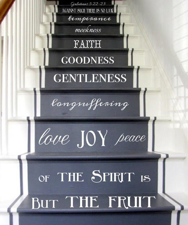 Vinyl Decal Fruit Of The Spirit Stair Decals Galatians 5