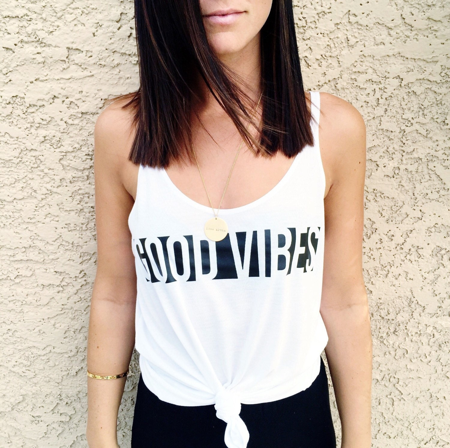 GOOD VIBES // Black & White Tank Top Yoga Tunic Brunch Top
