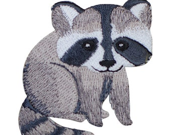 Raccoon Face Iron on Embroidered Applique Patch
