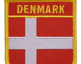 Denmark Flag Sew-On Badge Iron-On Patch ca 7.3 x 4.9 cm