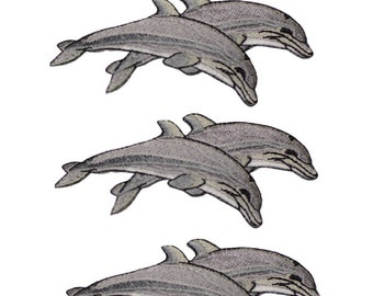 Dolphin Applique Patch 3-Pack, Small, Iron on Grey Porpoise