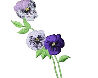 Yellow//Violet Pansy Pansies Flowers Small Iron On Embroidered Applique Patch