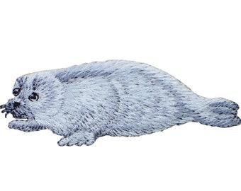 Baby seal application appliqu\u00e9 patch light blue white