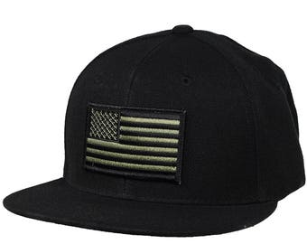 United States of America Hat - Black Snapback with Olive Green Flag a3de2b99f7e6