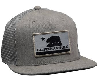 5f9d73a85e19c California Republic Trucker Hat by LET S BE IRIE - Gray Denim Snapback