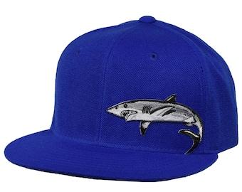 Great White Shark Snapback Hat - Royal Blue 0fb78d25f32