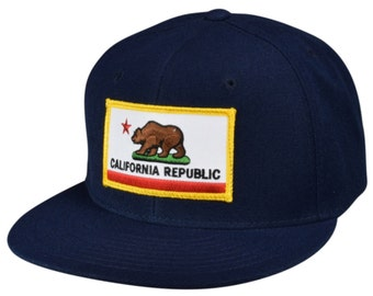 bdce9481 California Republic Hat - Navy Blue SnapBack by LET'S BE IRIE