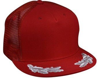 1a339709b7397 Captain Trucker Hat by LET S BE IRIE - Red and Gray Snapback