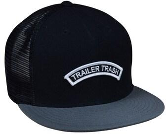 268c680af2c Trailer Trash Trucker Hat - Black and Gray Snapback