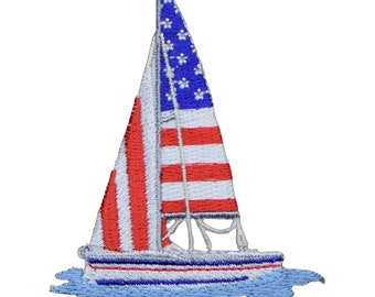 Sailboat with USA Sails Applique Patch - Stars and Stripes (Iron on)