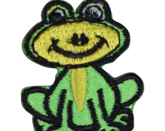 Smiling Green and Yellow Frog Applique Patch (Iron on)