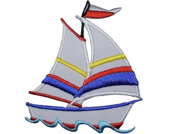 Sailboat with Flag Applique Patch (Iron on)