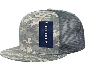 info for 8bb3c 53b7e 5 Panel Flat Bill Trucker Cap - Digital Camouflage, ACU (Decky 1040-ACU New  with Tags)