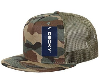 arrives 4c9bc feac4 5 Panel Flat Bill Trucker Cap - Woodland Camo (Decky 1040-WDL, New with  Tags)