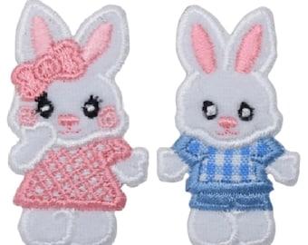 2 pk Plush Pink and Blue Bunnies
