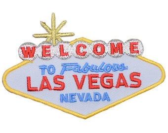 Las Vegas Nevada Patch Red and White Script Iron on