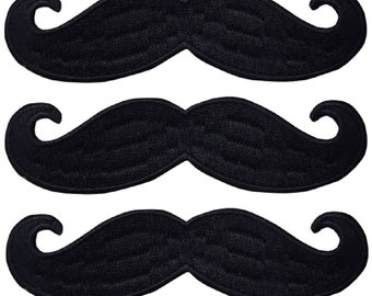 Iron On Applique Patches Glasses /& Mustache 3 Piece Set Black Bowler Hat