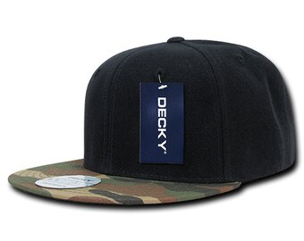 new style 9f64b c16ea Camo Bill Snapback Cap - Woodland Camo and Black, Acrylic Cotton Hat (Decky  356-WDL, New with Tags)