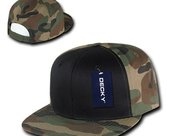 100% authentic f0ea1 0fdd9 Flat Bill Snapback Cap - Woodland Camo and Black, Cotton Hat (Decky  1049-WBW, New with Tags)