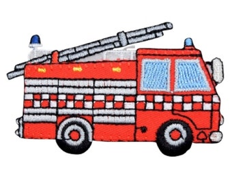 Fire Engine Truck Iron On Patch Badge Applique Firefighters Kids Boys DIY