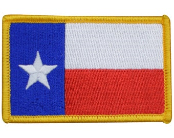 """TEXAS FLAG EMBROIDERED BLACK//GRAY HOOK AND LOOP PATCH NEW SIZE 3/"""" INCH"""