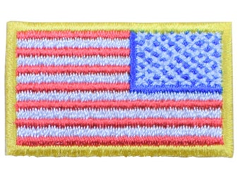 Mini American Flag Patch - Reverse United States of America USA for Right  Shoulder or Hat (Iron on) 5d8347a4b