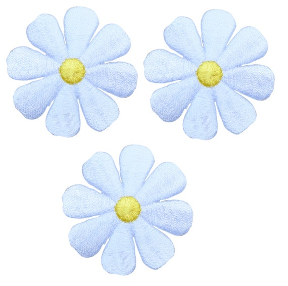 """1.5/"""" Pink Blue Two Layer Flower Embroidery Patch"""