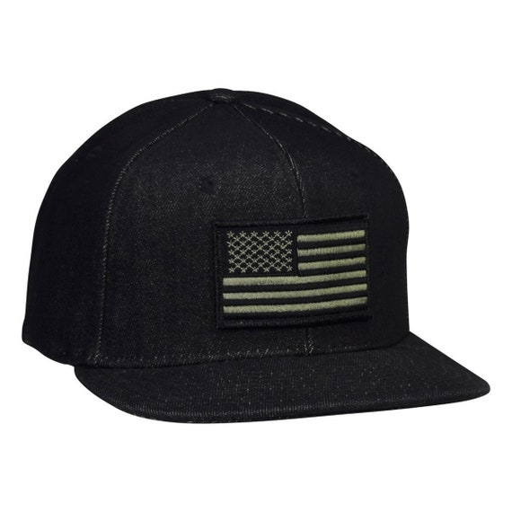 US Flag Snapback Hat Black Denim with Black and OD Green USA  bb2eefaf65f