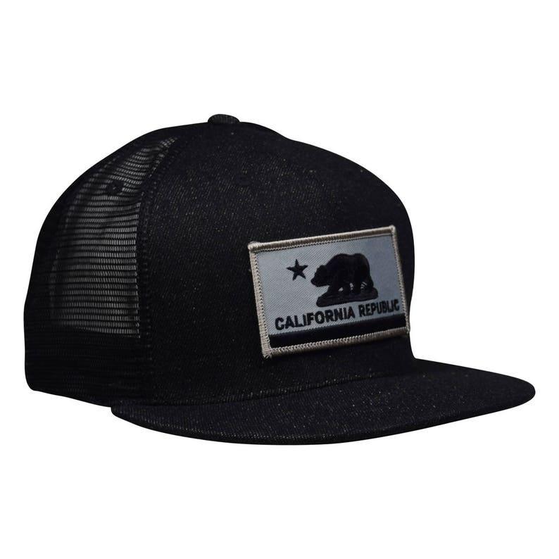 26da0b446c5c2 California Republic Trucker Hat Black Denim Hat with Gray