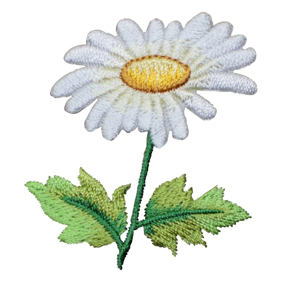 White Daisy With Leaves Flower Applique Patch Iron On Etsy